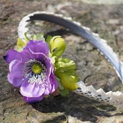 letní čelenka, saténová s květem sasanky