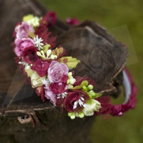 letní čelenka, květinová čelenka do vlasů, doplněna perličkami