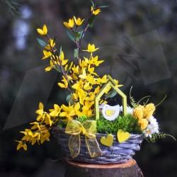 jarní košík 02, větvičky umělého zlatého deště