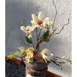 květinové aranžmá s bílou magnólií v keramické nádobě, v barvě laté