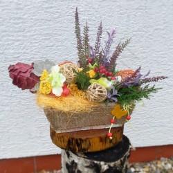 podzim, košík, jeřabiny, aranžmá, umělé květiny, dekorace, pro radost